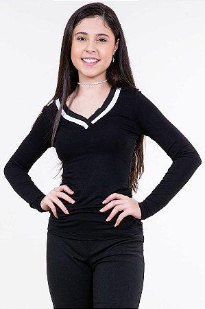 Blusa juvenil manga longa lisa