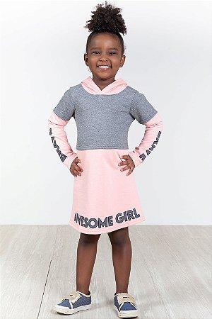 Vestido infantil moletom manga longa com capuz elian