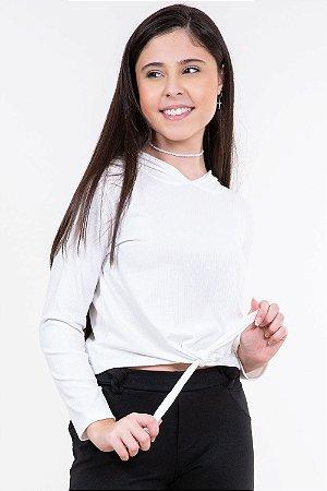 Blusa juvenil manga longa canelada com capuz