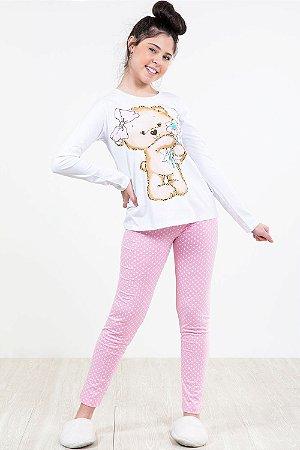 Pijama juvenil blusa manga longa e calça kyly