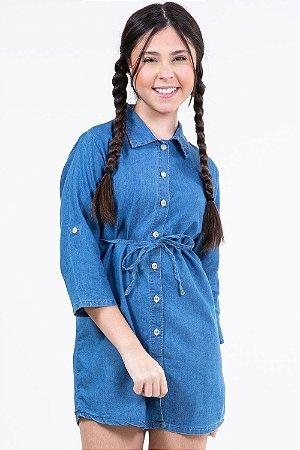 Vestido jeans juvenil manga 3/4 com botões