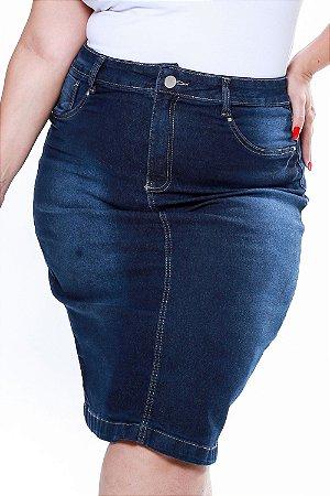 Saia jeans midi plus size
