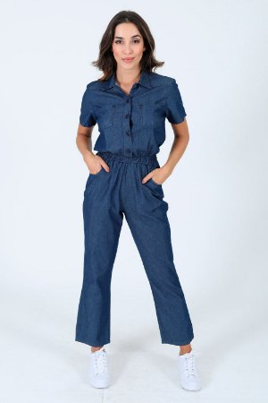 Macacão jeans manga curta