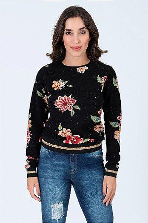 Blusa manga longa canelada com estampa floral lunender