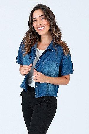 Camisa manga curta jeans