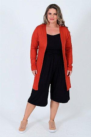 Cardigan tricot alongado plus size