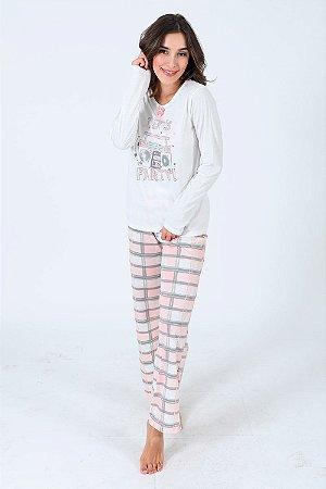 Pijama longo em malha calça xadrez
