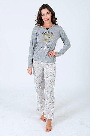 Pijama longo estampa gato