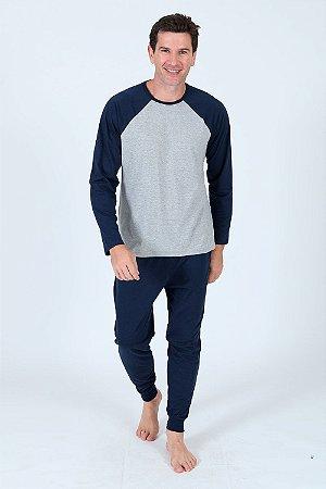 Pijama longo com manga raglan