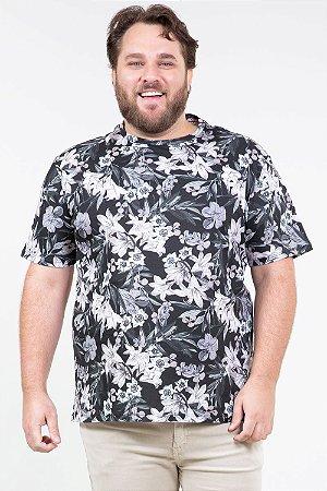 Camiseta manga curta floral plus size