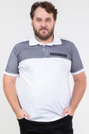 Camisa polo manga curta com recorte de tela plus size