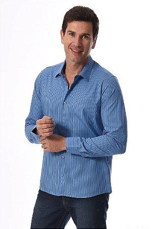 Camisa manga longa slim listrada