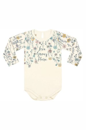 Body manga longa estampa floral love grows here em suedine