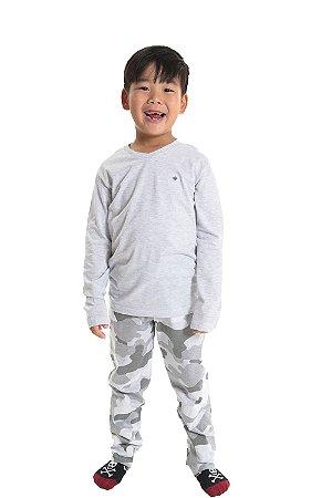 Pijama infantil longo calça camuflada em algodão