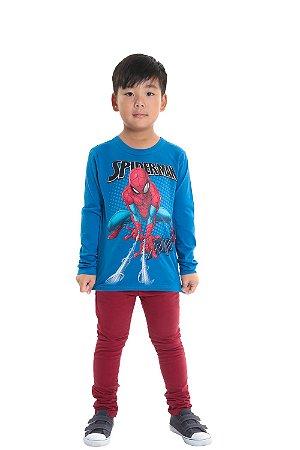 Camiseta infantil manga longa spider man