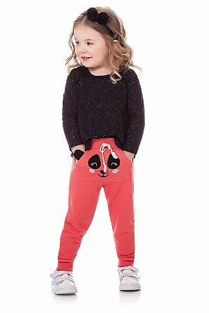 Calça infantil menina com aplique