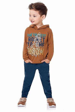 Conjunto infantil camiseta manga longa malha com calça moletom