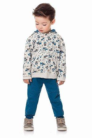 Conjunto infantil jaqueta com calça em moletom peluciado
