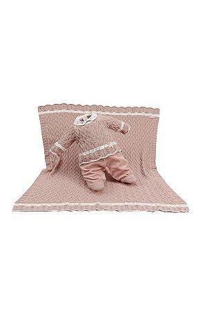 Saída maternidade menina plush tricot com manta beatriz