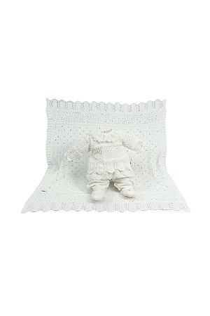 Saída maternidade menina plush tricot com manta bella