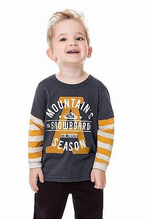 Camiseta infantil manga longa com sobreposição