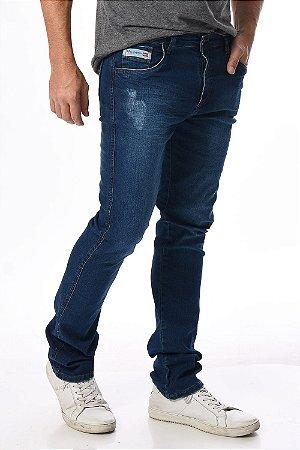 Calça jeans reta com puídos