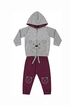 Conjunto bebê jaqueta moletom fio tinto com calça moletom kiko baby