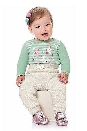 Calça bebê saruel matelassê com bolso falso