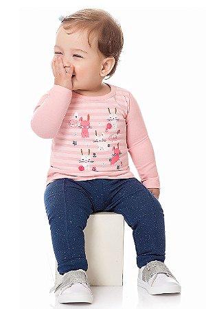 Blusa bebê manga longa estampada