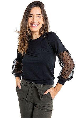Blusa manga longa com detalhe em tule de plumeti
