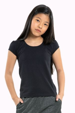 Blusa juvenil manga curta lisa