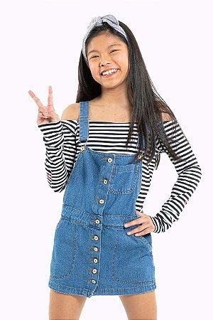 Salopete juvenil jeans com botões
