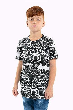 Camiseta juvenil manga curta liga da justiça