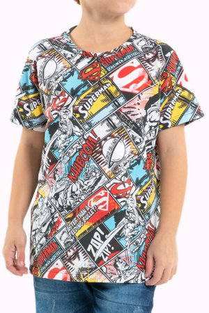 Camiseta juvenil manga curta superman