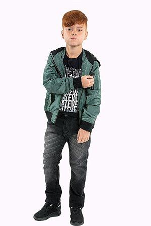 Jaqueta juvenil manga longa com capuz