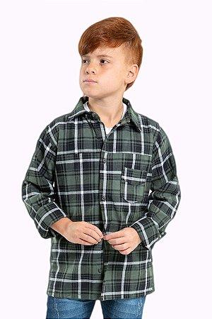 Camisa juvenil manga longa xadrez