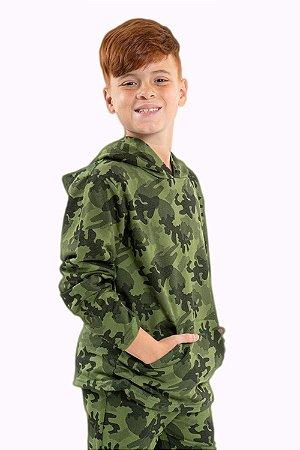 Blusa juvenil manga longa com capuz camuflada em moletom