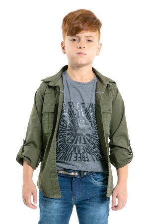 Camisa juvenil manga longa com bolso