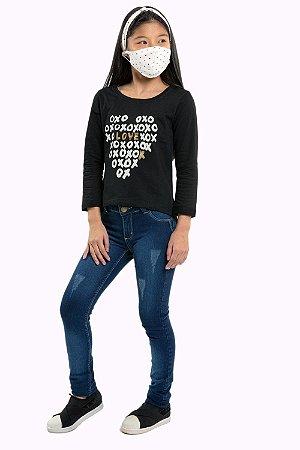 Blusa juvenil manga longa mullet
