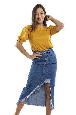 Saia jeans midi destroyed