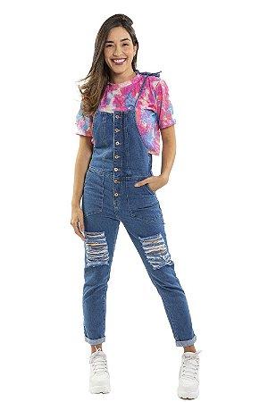Macacão jeans com detalhes destroyed