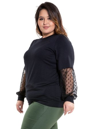 Blusa moletinho manga longa com tule plus size