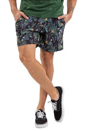 Bermuda masculina floral cós com elástico