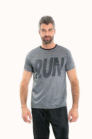 Camiseta manga curta gola careca mescla fitness