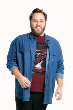 Camisa jeans manga longa plus size