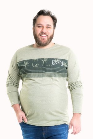 Camiseta manga longa plus size