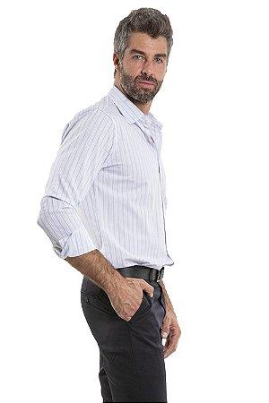 Camisa algodão reta manga longa listrada com bolso e detalhe bordado