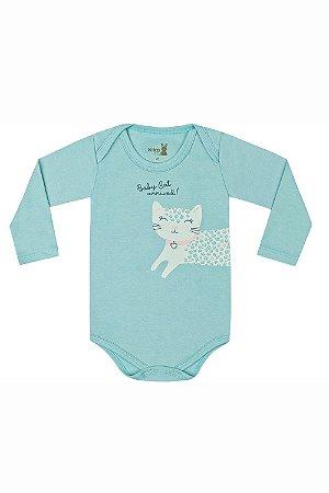 Body manga longa liso com estampa central baby cat em suedine