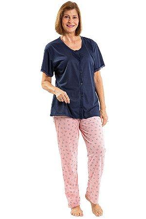 Pijama  manga curta com botões detalhe em renda
