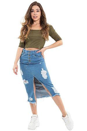 Saia jeans com fenda detalhe destroyed
